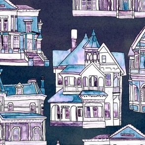 Blue Toile Victorian Houses