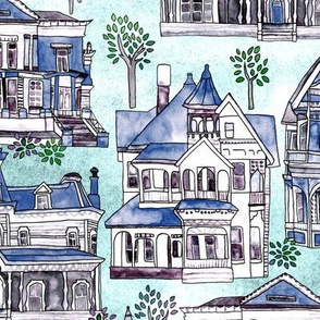 Mint, Grey & Blue Victorian Houses