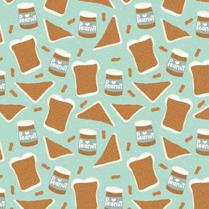 Peanut butter sandwich bread and jar cool food pop design mint gender neutral