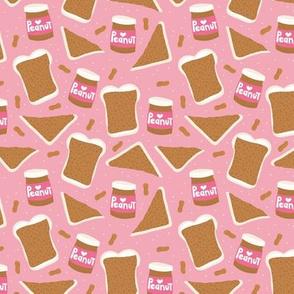 Peanut butter sandwich bread and jar cool food pop design girls pink
