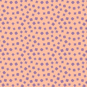 Ditsy flowers in violet and peach pink