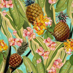 """18"""" Pierre-Joseph Redouté-Fruit Cocktail,Antique Tropical Palm Jungle with Pineapple and plumeria,teal"""