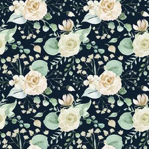 """18"""" moody florals - Sweet Watercolor Blush Roses on blue"""