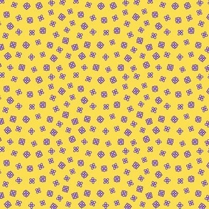 Ditsy small flowers in violet and yellow