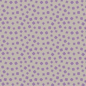 Ditsy small flowers in gray white and purple