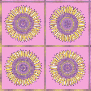 Yellow, violet and pink sunflowers in squares