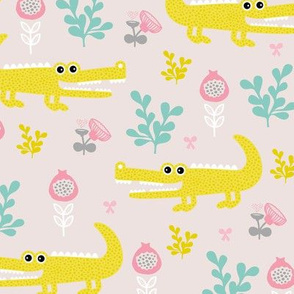 Sweet crocodile safari flower leaf garden design kids pastel animals pink mustard
