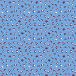 Scattered small flowers on a blue background