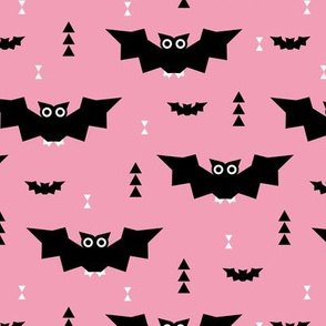 Cute little baby bats geometric halloween horror print with triangles pink night