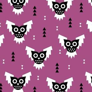 Cool geometric kawaii autumn winter halloween horror owls triangles purple