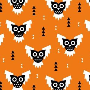 Cool geometric kawaii fall halloween horror owls triangles orange