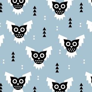 Cool geometric kawaii winter halloween horror owls triangles blue