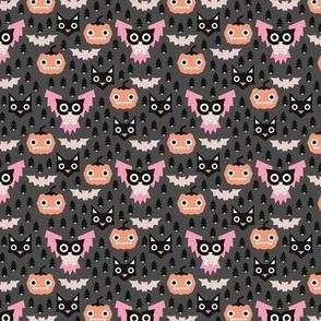 Pine tree forest horror night halloween animals owls black cat and pumpkin design pink girls SMALL