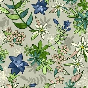 Alpine Flowers - Gentian, Edelweiss / Small Scale