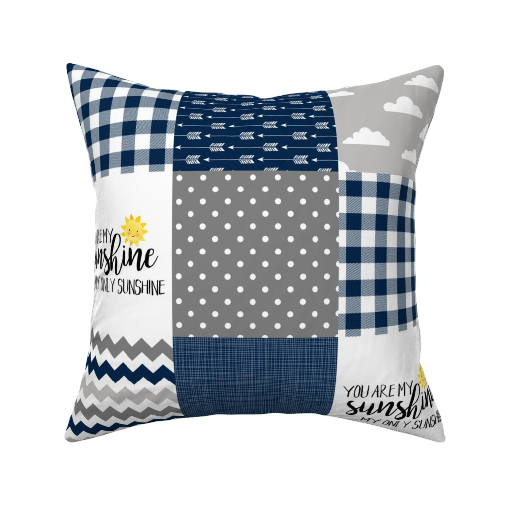 Catalan Throw Pillow featuring Modified You are my sunshine//Navy//Plaid - Wholecloth Cheater Quilt by longdogcustomdesigns