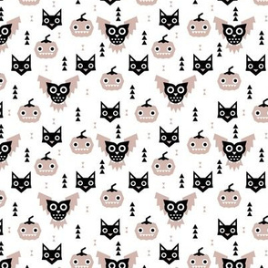 Sweet kawaii halloween animals pumpkins owls and cats geometric kids design beige black and white SMALL