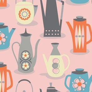 60s teapots on pink
