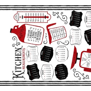 Kitchen Conversions 2021 Calendar ~ White Red ~ Conversion Chart