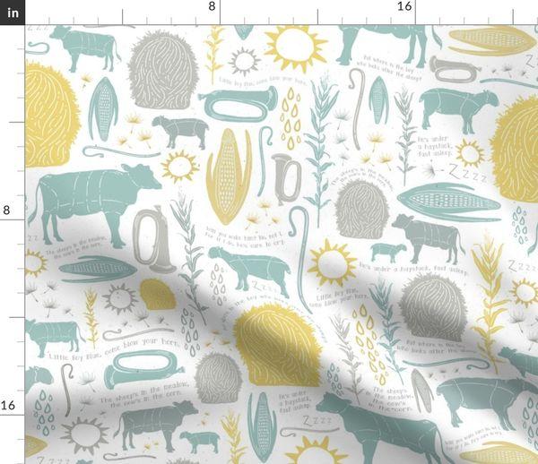 Stoff-Meterware Baby, Tiere, gelb, grau, Vintage, Kinderzimmer, Natur,  Bauernhof