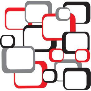 Retro Square Pattern Red Black Gray White