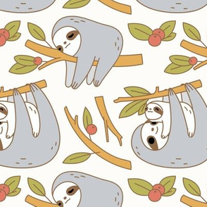 Sloth Pattern in Ivory