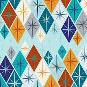 Starburst diamonds on blue