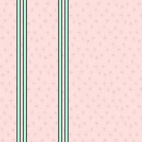 Mini starburst green pastel stripes on pink