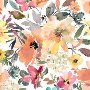 peach floral (white)