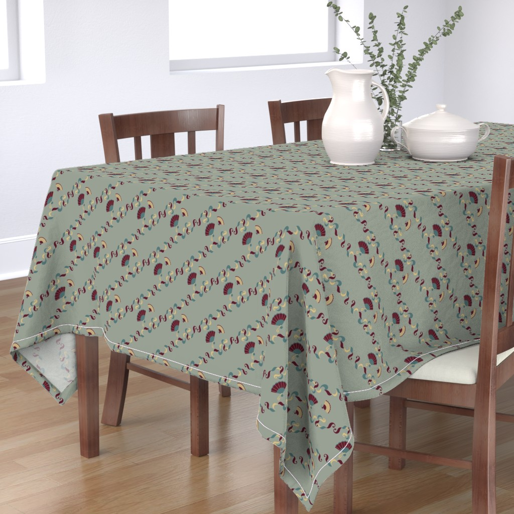 Bantam Rectangular Tablecloth featuring Diagonal Fans Sky Blue by kittylouvintage