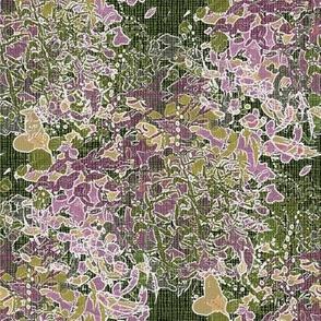 Pink purple green white English garden floral watercolor