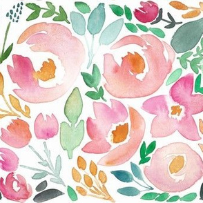 Late Summer Field of Flowers Watercolor Floral - SMALL scale
