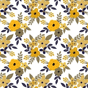 Navy and Mustard Fall Floral - MEDIUM scale