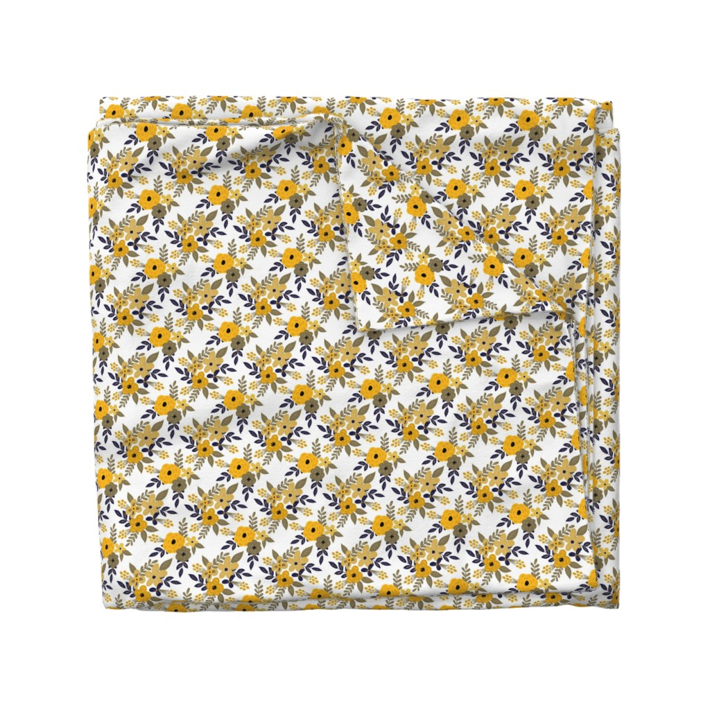 Wyandotte Duvet Cover featuring Navy and Mustard Fall Floral - SMALL scale by smallhoursshop