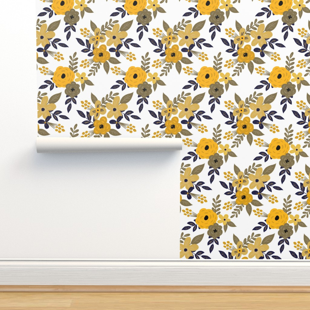 Isobar Durable Wallpaper featuring Navy and Mustard Fall Floral - SMALL scale by smallhoursshop