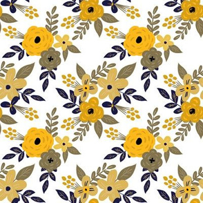 Navy and Mustard Fall Floral - SMALL scale