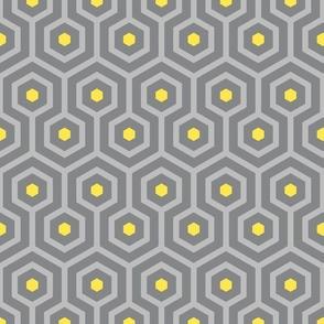Ultimate Gray Art Deco hexagons Illuminating Yellow vintage Wallpaper Fabric