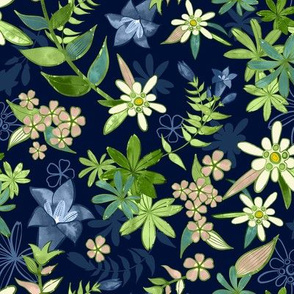 Alpine Flowers Blue - Gentian, Edelweiss / Small Scale