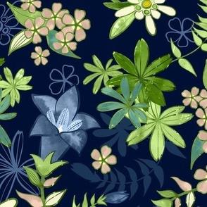 Alpine Flowers Blue - Gentian, Edelweiss
