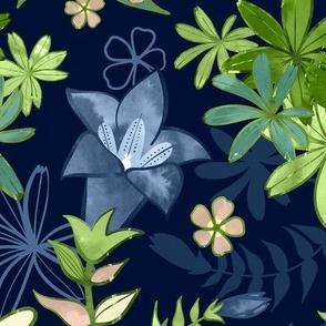 Alpine Flowers Blue - Gentian, Edelweiss / Large Scale