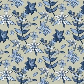 Monochrome Tan and Blue Alpine Flora / Small Scale