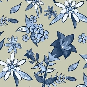 Monochrome Tan and Blue Alpine Flora