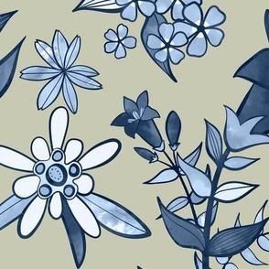 Monochrome Tan and Blue Alpine Flora / Large Scale