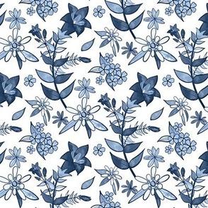 Monochrome Blue Alpine Flora / Small Scale
