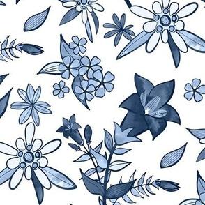 Monochrome Blue Alpine Flora