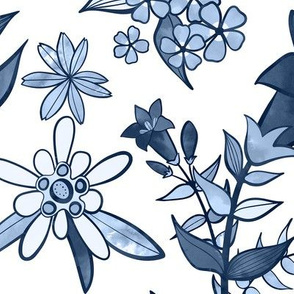 Monochrome Blue Alpine Flora / Large Scale