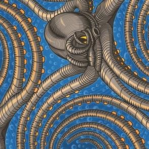 ★ 2020 : REVENGE OF THE KRAKEN ! ★ Tea Towel Calendar -Blue / Collection : Kraken ' Roll – Steampunk Octopus Print