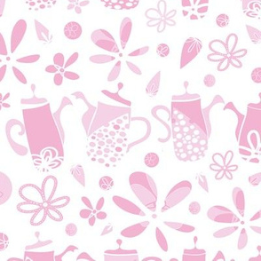 Pink Funky Tea Pots and Flowers