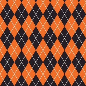 Halloween argyle pattern orange, black