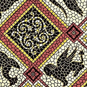 Myth Mosaic Pompeii Rose