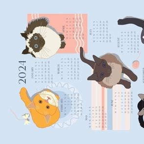 Cats on Mats Tea Towel